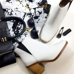 """White Leather Chelsea Boots Details: • Size 8.5 • Leather • Pull on style • 3"""" heel • Brand new in box  * Last photo belongs to """"I Hate Blonde"""" blog.   08171501 Shelly's London Shoes Ankle Boots & Booties"""