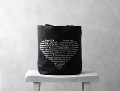 LOVE Languages Tote Bag  Silver on Black  by BucktoothedBunny, $16.00