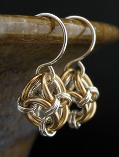 Short Mixed Metals Chainmaille Earrings  14k by LoneRockJewelry, $34.00