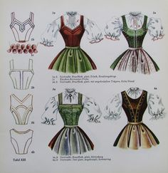 Vintage Inspired Outfits, Vintage Outfits, Vintage Fashion, Traditional Fashion, Traditional Dresses, Beauty And The Beast Costume, 1940s Outfits, Dress Illustration, Dirndl Dress