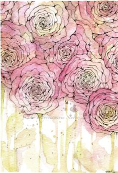 watercolor roses. #thedaydreamerie Watercolor Projects, Watercolor Techniques, Watercolor Cards, Watercolor And Ink, Watercolor Flowers, Watercolor Paintings, Simple Watercolor, Watercolors, Doodle Paint