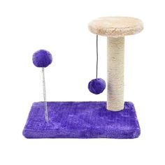 Cat Scratcher Tree Furniture With Spring Ball Toys 6 Variants - Cove Cotton