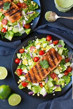 Mexican Grilled Salmon Salad with Greek Yogurt Avocado Ranch   Cooking Classy