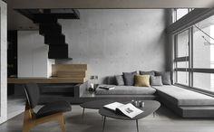 本案為一小型住宅空間 用挑高的手法拉高空間的尺度 向上延伸 運用純粹的材質 與戶外綠意相互輝映 低抬度的傢俱 創造小空間中更好的視覺效果 自由展開 創造空間 夾層空間利用鐵件框架與拉門移動創造出不同空間的使用功能