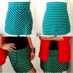 Zara Green & Navy Blue Mini Skirt w/ zippers Zara Green & Navy Blue Mini Skirt w/ zippers Zara Skirts Mini