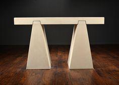 Geometric Solid LimestoneConsole in 3 Parts  1 Available in Dallas