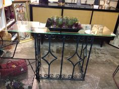 """Vintage Iron Console Table with Glass Top  Good inside or out.  47"""" Wide x 14"""" Deep x 25"""" High  $145   Eclectic Treasures Booth #8279  Lula B's   1010 N. Riverfront Blvd. Dallas, TX 75207  Read more: http://dallas.ebayclassifieds.com/furniture/dallas/vintage-iron-console-table-with-glass-top/?ad=27907438#ixzz2TJAwqqA1"""