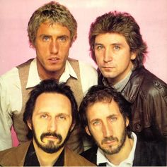"The Who line up after Keith's death. Early Roger Daltrey, Kenny Jones, John Entwistle and Pete Townshend. I love ""Eminence Front"" but can't hear it without thinking how different it would have sounded with Keith Moon on the drums. Roger Daltrey, Rock And Roll Bands, Rock N Roll, Music Tv, Music Bands, John Entwistle, Keith Moon, Celebrity Singers, Rock Collection"