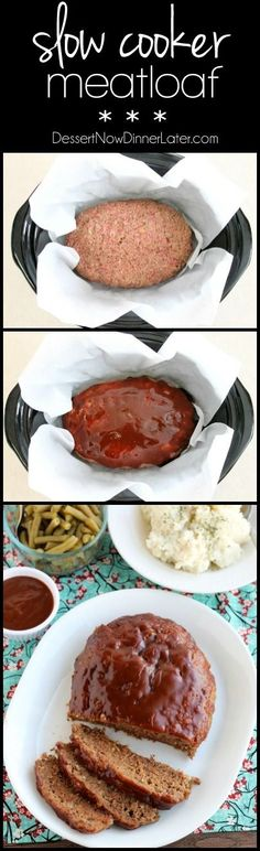 This Slow Cooker Meatloaf has a delicious savory-sweet brown sugar and balsamic glaze on top, and is cooked on a sheet of parchment paper that easily lifts the meatloaf out of the slow cooker when it' (Crockpot Burger Recipes) Crock Pot Food, Crockpot Dishes, Crock Pot Slow Cooker, Beef Dishes, Slow Cooker Recipes, Beef Recipes, Cooking Recipes, Crockpot Meals, Recipies