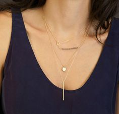 Layering Necklace from Layered + Long: Tiny Gold Triangle Necklace. Layered Necklaces. #layerednecklaces #necklaceset #layeringnecklace