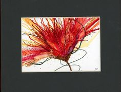 Abstract flower painting alcohol inks on yupo paper matted