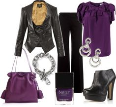 """Purple and Black Smart Casual Night Out"" by sazzledoodle on Polyvore"