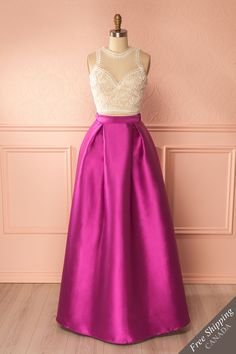 Kinko Magenta #boutique1861 /  Here's an ensemble that is just as chic and flexible as you are! This voluminous satin A-line skirt combined with a lace crop top will put you in the spotlight. Wear the two pieces together, or mix and