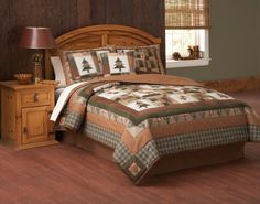 Hunting Quilt Patterns | Hunting Lodge Quilt Set in King or Queen sizes