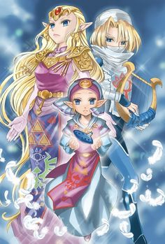 Princess Zelda: her adult self, her young self, and her alter ego Sheik - The Legend of Zelda: Ocarina of Time