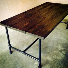 Rustic Farm Table and Industrial Dining Table craigslist $400+ No--legs are too industrial looking for me...