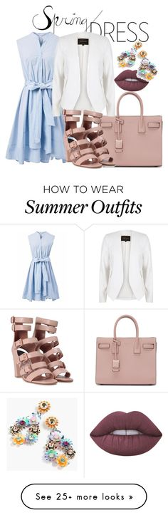 """""""Spring Outfit"""" by vero1983 on Polyvore featuring Yves Saint Laurent, Chicwish, River Island, Laurence Dacade, Lime Crime and J.Crew"""