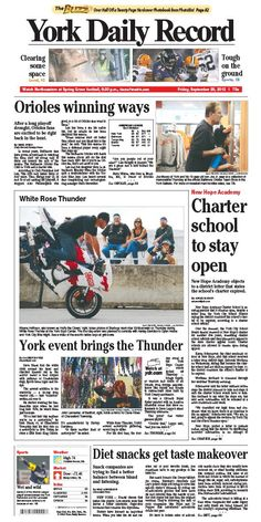 York Daily Record front page for Friday Sept. 28