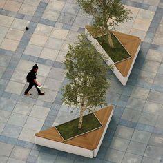 idea to create a raised tree planter Triangle Planter - Artform Urban Landscape Elements, Landscape Architecture Design, Green Architecture, Urban Landscape, Architecture Diagrams, Architecture Portfolio, Urban Furniture, Street Furniture, Concrete Furniture