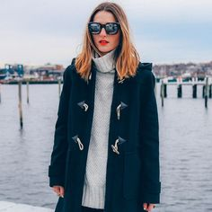 Wool Toggle Coat and Turtleneck Sweater