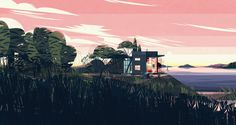 Some poetic illustrations of cabins, halfway between realism and fantasy, by Cruschiform.
