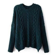 Chunky cable knit sweater, forest green or wine red.