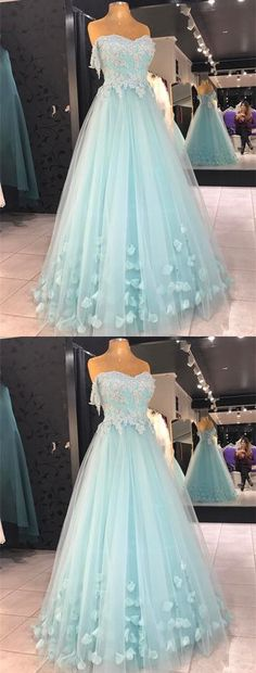 Baby Blue Appliques Prom Dress, Sexy Tulle Prom Dresses, Long Evening Dress P1469  #promdresses #longpromdress #2018promdresses #fashionpromdresses #charmingpromdresses #2018newstyles #fashions #styles #hiprom #lightblue