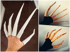 truebluemeandyou: Halloween & Cosplay DIYs — DIY Lady Deathstrike Claw Nails T. - truebluemeandyou: Halloween & Cosplay DIYs — DIY Lady Deathstrike Claw Nails Tutorial from… Diy Halloween, Maske Halloween, Halloween Cosplay, Halloween Decorations, Halloween Costumes, Halloween Costume Accessories, Halloween Nails, Cosplay Diy, Cosplay Outfits