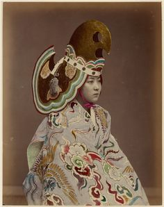 Unknown Artist (Japanese) - Performer in Bugaku-style Costume, 1880s - tinted albumen silver print