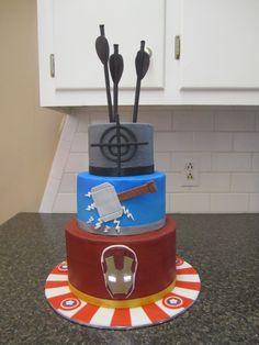 MY Super Hero Cake. Hawkeye, Thor, Ironman with light up eyes, & Captain America.