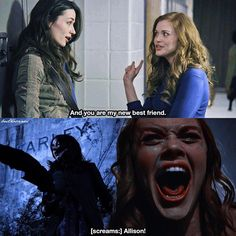 The moment they meet and the moment she dies. Pretty sure my heart just re broke after looking at this 💔💔 Stiles Teen Wolf, Teen Wolf Stydia, Teen Wolf Dylan, Teen Wolf Cast, Dylan O'brien, Teen Wolf Memes, Teen Wolf Funny, Allison Argent, Scott Mccall