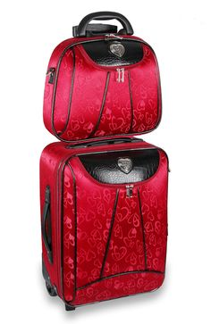 Vintage style world map rolling luggage set by jkmcompany jkm and red heart rolling luggage cosmetic case set by jkmcompany jkm and company gumiabroncs Gallery