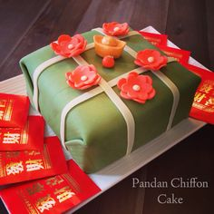 Pandan Chiffon cake for Lunar New Year in the shape of Banh Chung