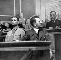 Adolf Hitler sitting next to Rudolf Hess in the German Reichstag on 1 Sept 1939 as German troops were crossing the German-Polish frontier and triggering WW2.