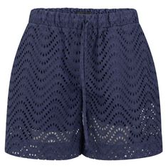 Victoria Beckham Women's Bermuda Shorts - Navy Broderie Anglaise ($94) ❤ liked on Polyvore featuring shorts, bottoms, short, navy broderie anglaise, loose shorts, patterned shorts, eyelet shorts, elastic waist shorts and loose fit shorts
