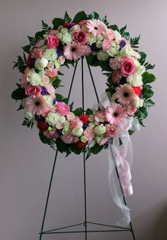 Pink Wreath, created at Harbourview Flowers in Thunder Bay, ON.