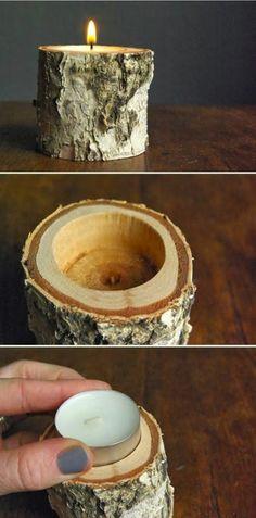 Wooden branch tea light holder
