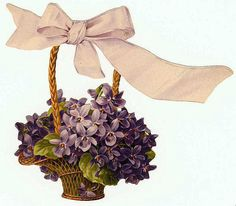 basket of violets Vintage Greeting Cards, Vintage Ephemera, Vintage Postcards, Vintage Pictures, Vintage Images, Vintage Flowers, Vintage Floral, Vintage Prints, Vintage Patterns