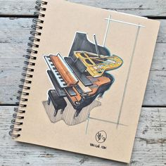 //144. Next to playing the guitar I am thinking about learning to play the piano so to learn more about the instrument I decided to take it apart in a sketch. I'm looking forward to hearing what you think! #alwaysbesketching