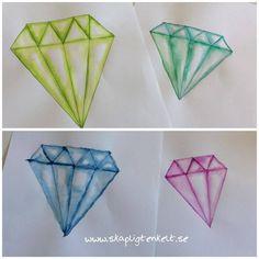 Diamanter med vattenfärg