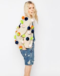 Image 1 of ASOS Pom Pom Cardigan BECAUSE WHO DOESN'T WANT A POM POM CARDIGAN. COME ON.