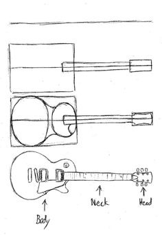 how to draw a guitar easy