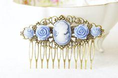 Victorian Blue Resin Rose Cameo Hair Clip by SmittenKitten