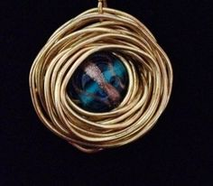 Nest Pendant with Teal Glass Lampwork Bead by BlessMyNestShop, $25.00