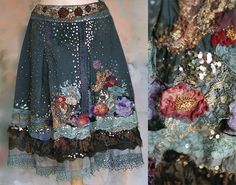 RESERVED for LIZBETH Beautiful fairytale-like skirt is unique and one of a kind. Reworked, hand dyed gray cotton skirt features layers of hand dyed antique lace, distressed vintage silks, hand beading in shiny gray seed beads and vintage golden sequins. Small red blooms are sculpted