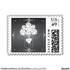 Chalkboard Mason Jar Floral Flower Wedding Save The Date Personalized Postage STAMPS