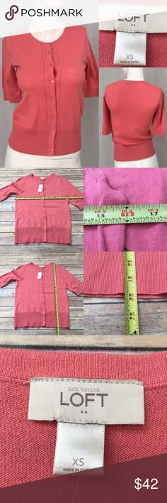 🍂NWT XS LOFT Pink Short Sleeve Cardigan Sweater Measurements are in photos. BRAND NEW, no flaws. D2/33  I do not comment to my buyers after purchases, due to their privacy. If you would like any reassurance after your purchase that I did receive your order, please feel free to comment on the listing and I will promptly respond.   I ship everyday and I always package safely. Thank you for shopping my closet! LOFT Sweaters Cardigans