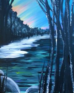 Wintery Woodland with icy water beginner painting idea.
