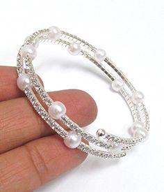 fea2af061e5 Pearl and rhinestone mix memory wire bracelet (WHS) GlitzFit Bracelet Fil,  Strand Bracelet