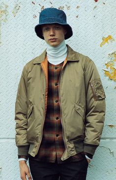 "iqfashion: "" Ships Jet Blue - F/W "" Ships Jet Blue, Layered Look, Autumn Winter Fashion, Fall Fashion, Japanese Fashion, Outerwear Jackets, Military Jacket, Layers, Bomber Jacket"